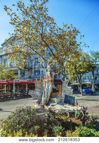 ISTANBUL TURKEY: Statue of Sait Faik Abasiyanik famous turkish writer located at Burgazada island on October 9 2017