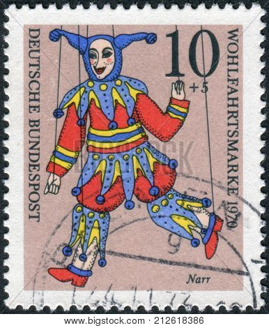 GERMANY - CIRCA 1970: Postage stamp printed in Germany shows a puppet