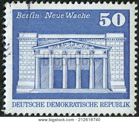 GERMANY (DDR) - CIRCA 1980: Postage stamp printed in Germany shows the building Neue Wache (New Guardhouse) Berlin circa 1980