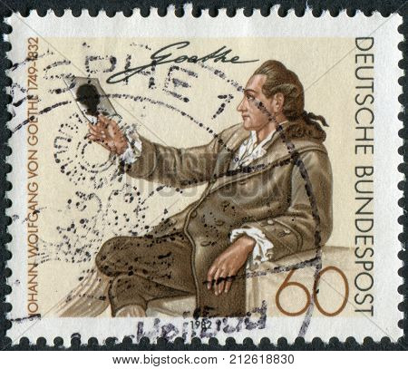 GERMANY - CIRCA 1982: Postage stamp printed in Germany shows Johann Wolfgang von Goethe by Georg Melchior Kraus circa 1982
