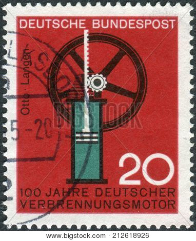 GERMANY - CIRCA 1964: Postage stamp printed in Germany dedicated to the 100th anniversary of German internal combustion engine Nikolaus August Otto and Eugen Langen circa 1964