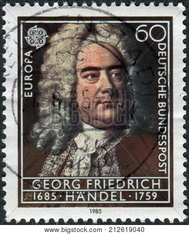 GERMANY - CIRCA 1985: Postage stamp printed in Germany shows portrait of the composer George Frideric Handel circa 1985
