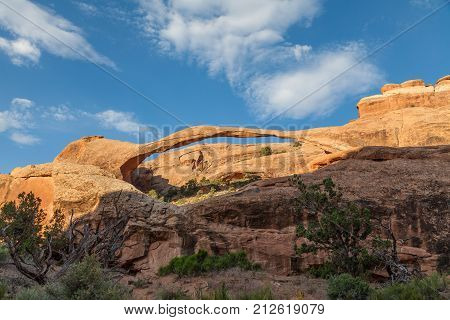the scene landscape of landscape arch in arches national park Utah
