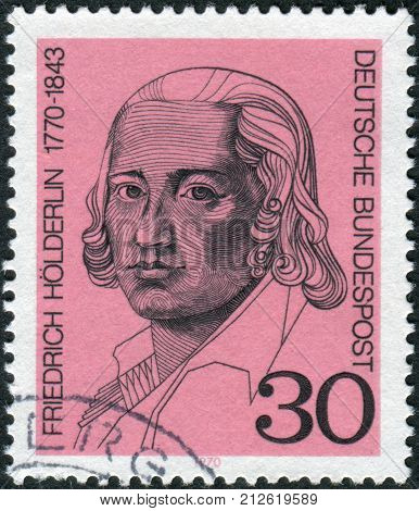 GERMANY - CIRCA 1970: Postage stamp printed in Germany shows portrait of the German lyrical poet Friedrich Hoelderlin circa 1970