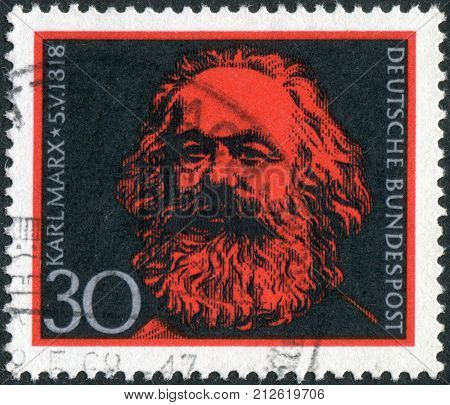 GERMANY - CIRCA 1968: Postage stamp printed in Germany shows portrait of Karl Heinrich Marx a German philosopher economist sociologist historian journalist and revolutionary socialist circa 1968