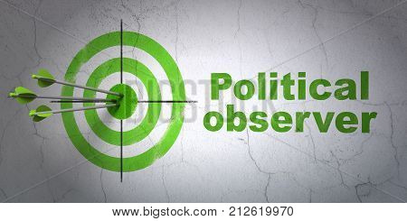 Success political concept: arrows hitting the center of target, Green Political Observer on wall background, 3D rendering