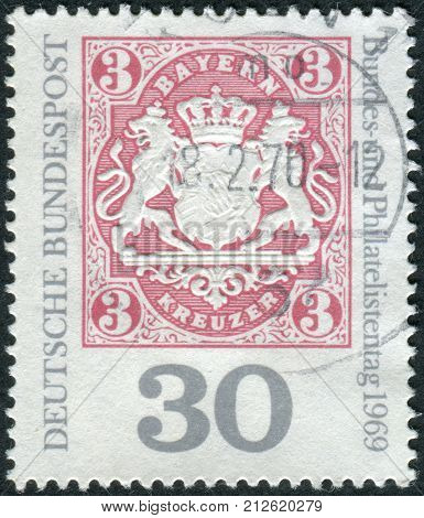 GERMANY - CIRCA 1969: Postage stamp printed in Germany dedicated philatelic exhibition