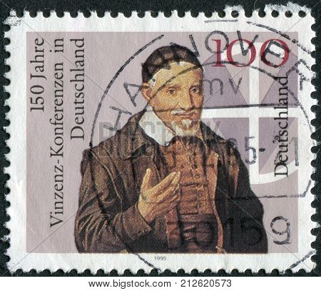 GERMANY - CIRCA 1995: Postage stamp printed in Germany dedicated to the 150th anniversary of Vincent Conferences in Germany circa 1995
