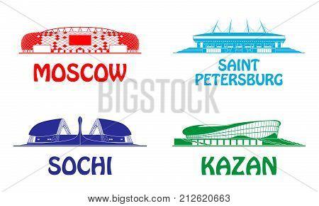 Sport. Football stadiums set. Russia 2018. cup