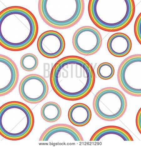 Different pastel rainbow circles - oldschool seamless pattern. Abstract colorful ornament. Vector illustration.