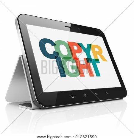 Law concept: Tablet Computer with Painted multicolor text Copyright on display, 3D rendering