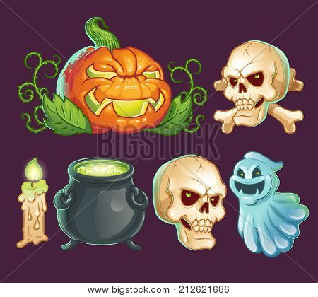 Set of vector cartoon characters, icons, stickers for Halloween. Scaring pumpkin-lantern, terrible ghost, spooky skull with bones, witch pot with potion, burning candle, print, design element