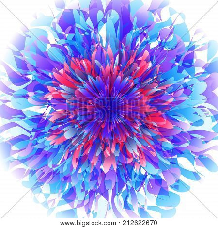 Abstract fururistic background with random layered texture. Fantastic flower vector illustration. Abstract burst vector. Red, blue and purple background