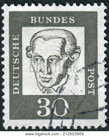 GERMANY - CIRCA 1961: Postage stamp printed in Germany shows portrait Immanuel Kant circa 1961