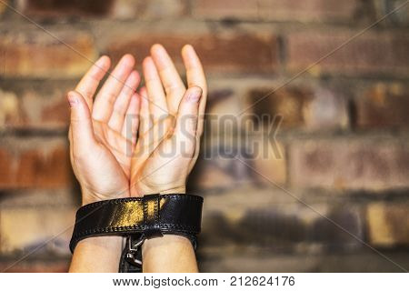 International Day For The Elimination Of Violence Against Women. Hands Of A Young White Female Hosta