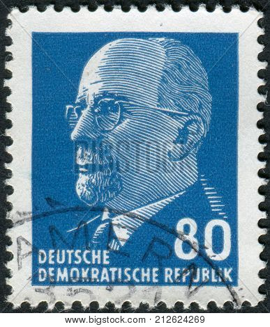 GERMANY - CIRCA 1967: Postage stamp printed in Germany (GDR) shows a German Communist politician and statesman Walter Ulbricht circa 1967