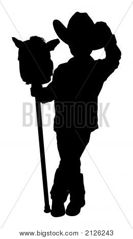 Silhouette With Clipping Path Of Little Cowboy