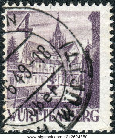 GERMANY - CIRCA 1948: Postage stamp printed in Germany (Wurttemberg-Hohenzollern French occupation zone) shows Castle of Bebenhausen (Bebenhausen Abbey) circa 1948