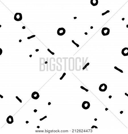 Black and white doodle seamless vector pattern. Dots and lines scribbled print. Abstract doodle seamless pattern. Handdrawn ornament. Memphis background decor tile. Trendy hipster ink doodle pattern