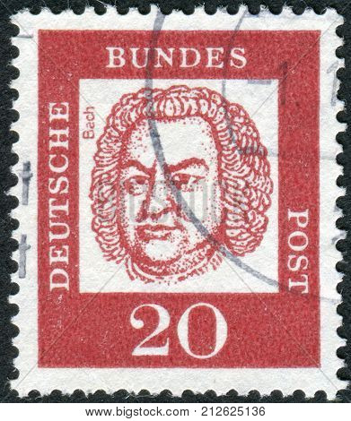 GERMANY - CIRCA 1961: Postage stamp printed in Germany shows portrait of Johann Sebastian Bach circa 1961