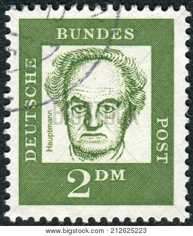 GERMANY - CIRCA 1962: Postage stamp printed in Germany shows portrait of Gerhart Hauptmann circa 1962