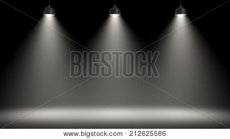 3d rendering of three pendant lamps all making a large light circle on the floor. Stage light. Light and shadow effects. Professional lighting.