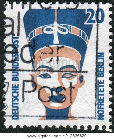 GERMANY - CIRCA 1989: Postage stamp printed in Germany shows Queen Nefertiti of Egypt bust Egyptian Museum Berlin circa 1989