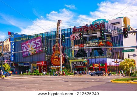 Las Vegas, United States of America - May 05, 2016: The Hard Rock Cafe on the Strip. The Hard Rock sign is embedded in a Gibson Les Paul Guitar II