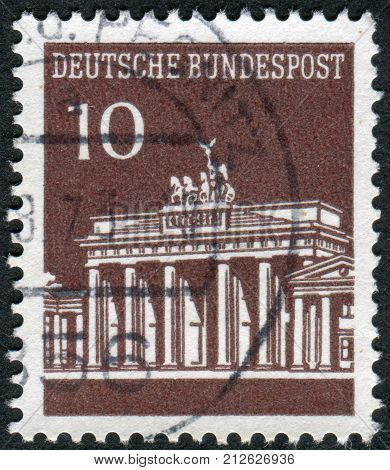 GERMANY - CIRCA 1966: Postage stamp printed in Germany shows Brandenburg Gate Berlin circa 1966