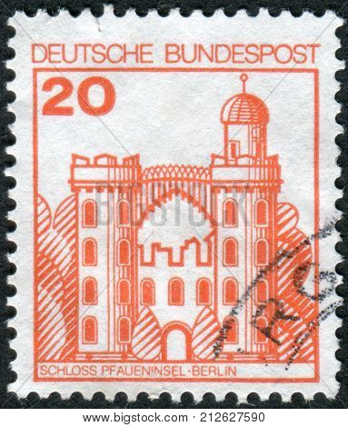GERMANY - CIRCA 1979: Postage stamp printed in Germany shows Peacock Island Castle (Pfaueninsel) Berlin circa 1979