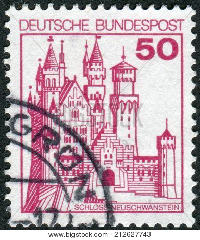 GERMANY - CIRCA 1977: Postage stamp printed in Germany shows the Neuschwanstein Castle circa 1977