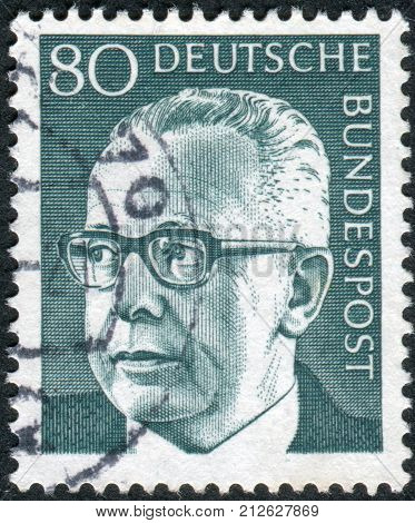 GERMANY - CIRCA 1971: Postage stamp printed in Germany shows the 3rd President of the Federal Republic of Germany Gustav Walter Heinemann circa 1971