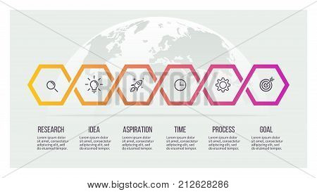 Business process. Timeline infographics with 6 options. Vector template.