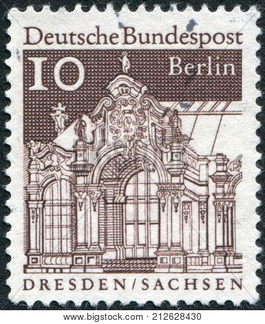 GERMANY - CIRCA 1967: Postage stamp printed in Germany (West Berlin) shows Wall Pavilion Zwinger Dresden circa 1967