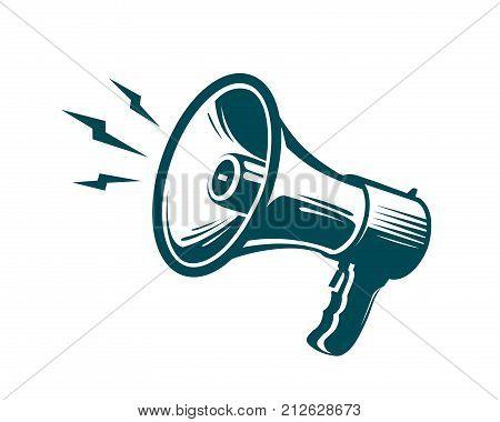 Megaphone, loudspeaker symbol. Advertising, marketing, news concept. Vector illustration isolated on white background