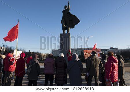 Communists rally on the day of the October Socialist Revolution on November 7 2017 Russia the city of Kirovsk the central square.