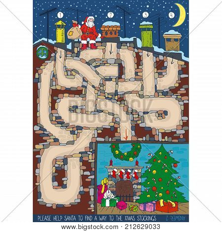 Christmas Maze Game with Santa Claus, Chimney, Roof and Christmas Tree, Fireplace and Gifts in the Room