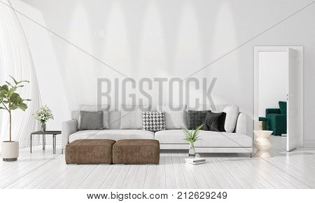 Modern Interior Design Of Livingroom In Vogue With Plant, Grey Divan, Copyspace. Horizontal Arrangem