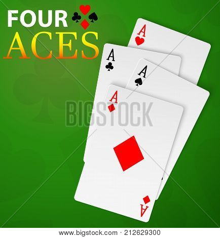 Four aces playing cards poker winner hand lying on green table with shadows. Stock Illustration EPS 10