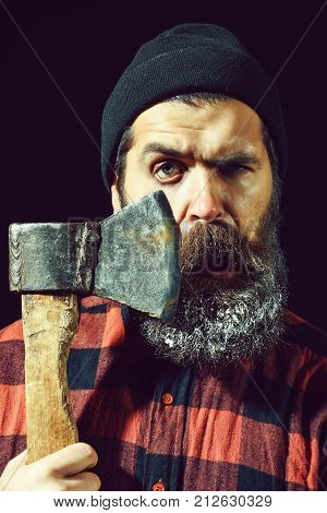 Brutal Man Shaves With Axe