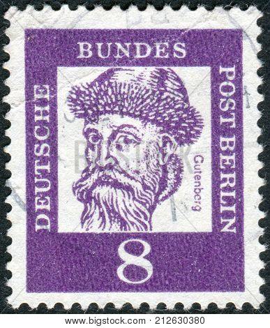 GERMANY - CIRCA 1961: Postage stamp printed in Germany (West Berlin) shows portrait of Johannes Gutenberg circa 1961