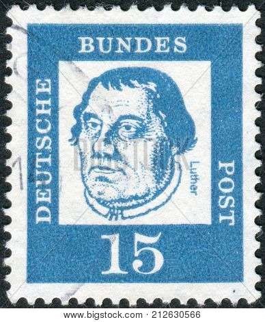 GERMANY - CIRCA 1961: Postage stamp printed in Germany shows portrait of Martin Luther circa 1961