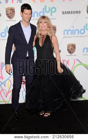 LOS ANGELES - OCT 3:  Novak Djokovic, Goldie Hawn at the Goldie's Love In For Kids at the Green Acres Estate on October 3, 2017 in Beverly Hills, CA
