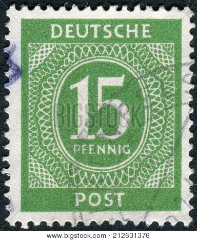 GERMANY - CIRCA 1946: Postage stamp printed in Germany shows the face value stamps circa 1946