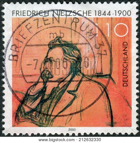 GERMANY - CIRCA 2000: Postage stamp printed in Germany shows portrait of Friedrich Wilhelm Nietzsche by Edvard Munch circa 2000