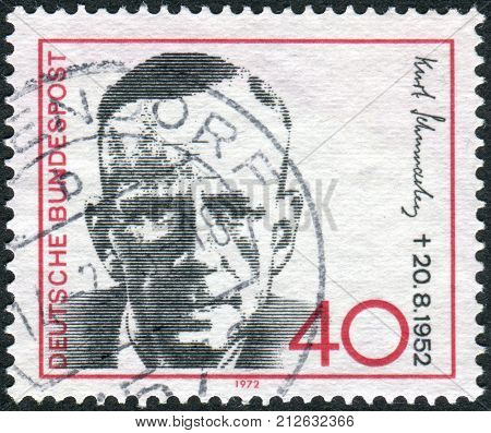 GERMANY - CIRCA 1972: Postage stamp printed in Germany shows portrait of Kurt Schumacher 1st chairman of the German Social Democratic Party circa 1972