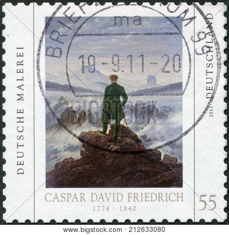GERMANY - CIRCA 2011: A stamp printed in Germany is devoted to Caspar David Friedrich shows a picture of