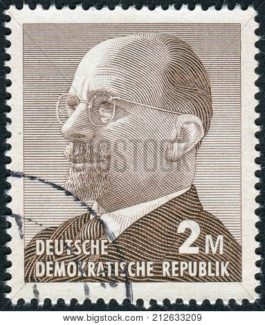 GERMANY - CIRCA 1963: Postage stamp printed in Germany (GDR) shows a German Communist politician and statesman Walter Ulbricht circa 1963