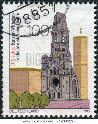 GERMANY - CIRCA 1995: Postage stamp printed in Germany dedicated to the 100th anniversary of the Kaiser Wilhelm Memorial Church Berlin circa 1995