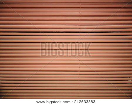 Industrial abstract background. Product is made of straight parallel horizontal steel pipes.